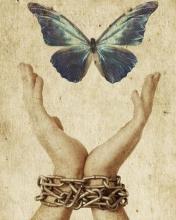 Libertà mentale. Mani incatenate liberano una farfalla.