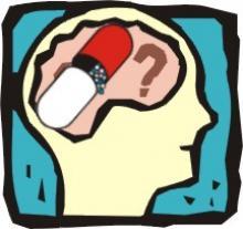 Immagine di una testa con una pillola al posto del cervello